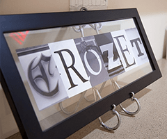 Crozet sign on counter